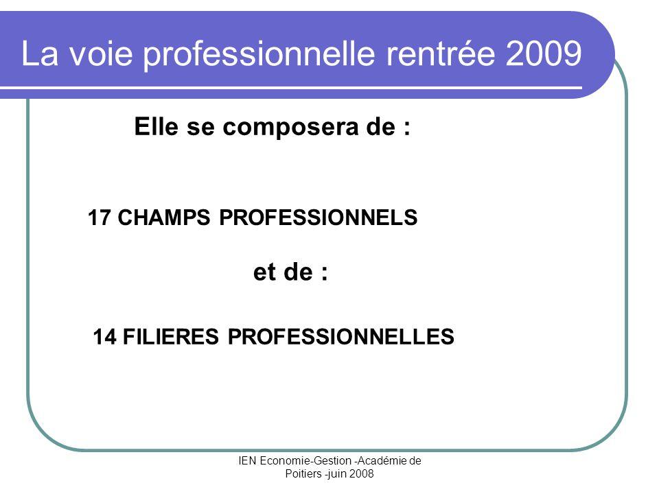 IEN Economie-Gestion -Académie de Poitiers -juin 2008 La voie professionnelle rentrée 2009 17 CHAMPS PROFESSIONNELS 14 FILIERES PROFESSIONNELLES Elle se composera de : et de :