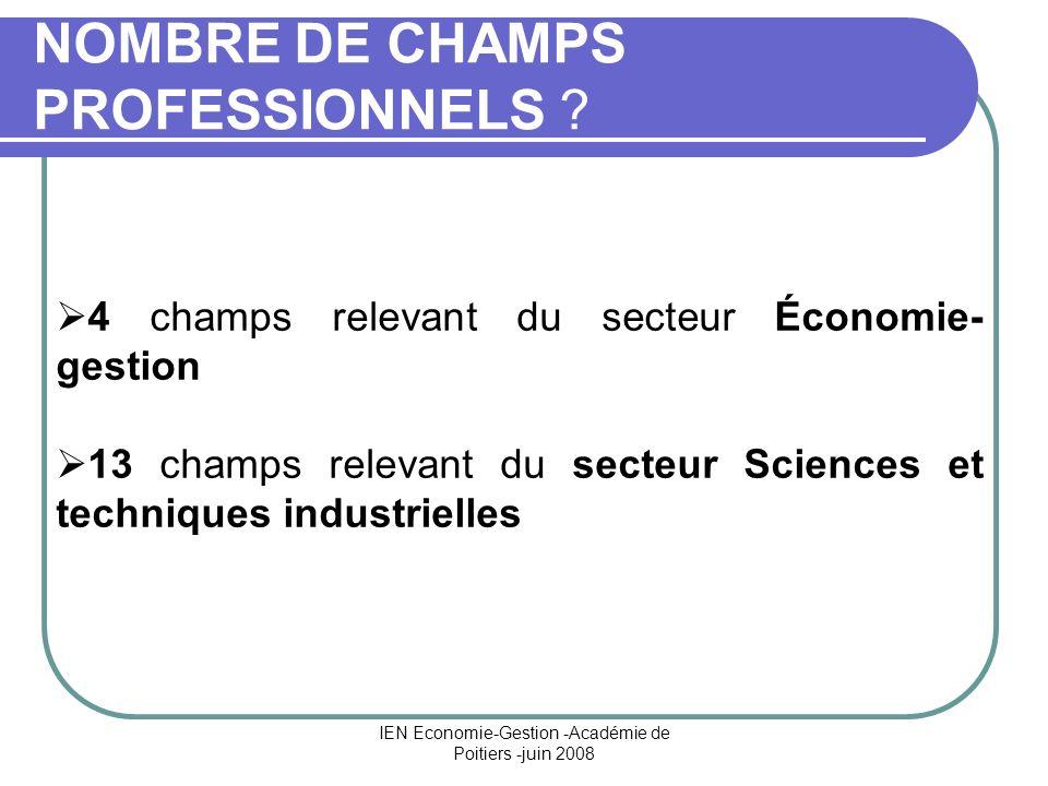 IEN Economie-Gestion -Académie de Poitiers -juin 2008 NOMBRE DE CHAMPS PROFESSIONNELS ? 4 champs relevant du secteur Économie- gestion 13 champs relev