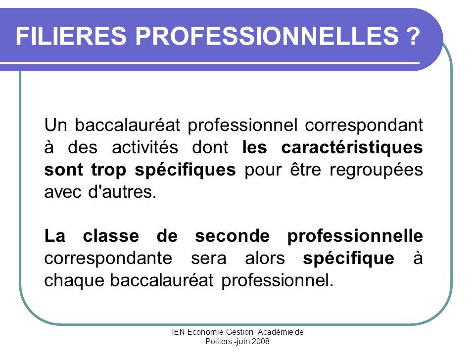 IEN Economie-Gestion -Académie de Poitiers -juin 2008 FILIERES PROFESSIONNELLES ? Un baccalauréat professionnel correspondant à des activités dont les