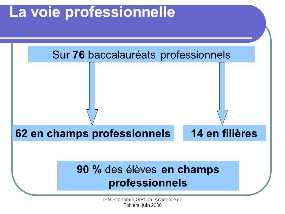 IEN Economie-Gestion -Académie de Poitiers -juin 2008 La voie professionnelle 62 en champs professionnels14 en filières 90 % des élèves en champs prof
