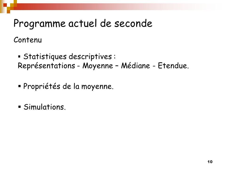 10 Programme actuel de seconde Contenu Statistiques descriptives : Représentations - Moyenne – Médiane - Etendue. Propriétés de la moyenne. Simulation