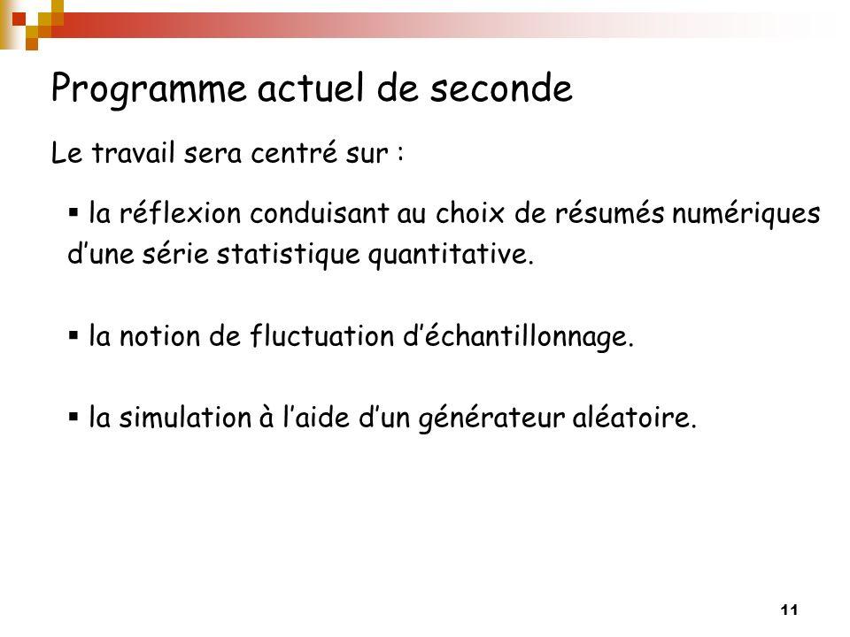 11 Programme actuel de seconde Le travail sera centré sur : la réflexion conduisant au choix de résumés numériques dune série statistique quantitative