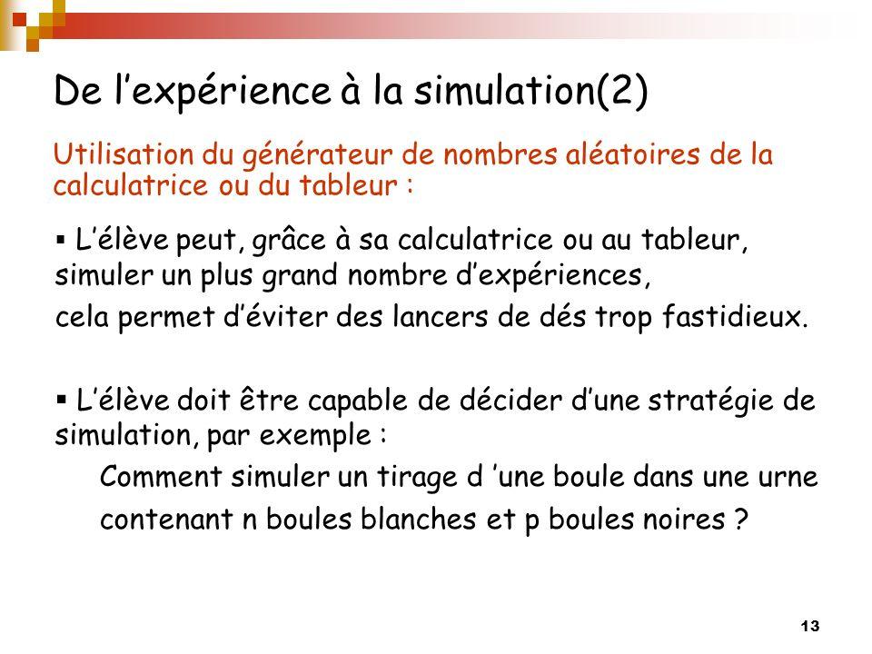 13 De lexpérience à la simulation(2) Utilisation du générateur de nombres aléatoires de la calculatrice ou du tableur : Lélève peut, grâce à sa calcul