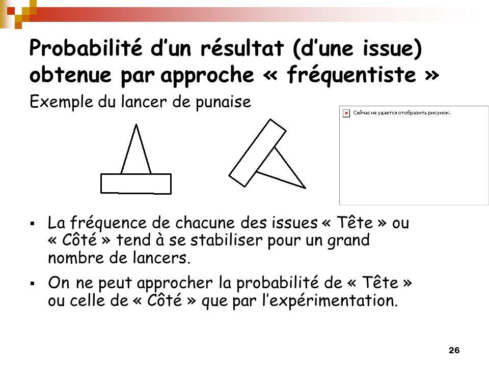 26 Probabilité dun résultat (dune issue) obtenue par approche « fréquentiste » Exemple du lancer de punaise La fréquence de chacune des issues « Tête
