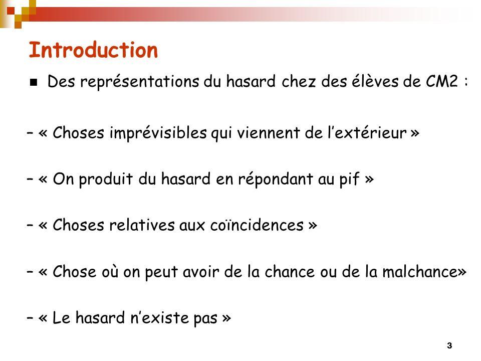 3 Introduction Des représentations du hasard chez des élèves de CM2 : – « Choses imprévisibles qui viennent de lextérieur » – « On produit du hasard e