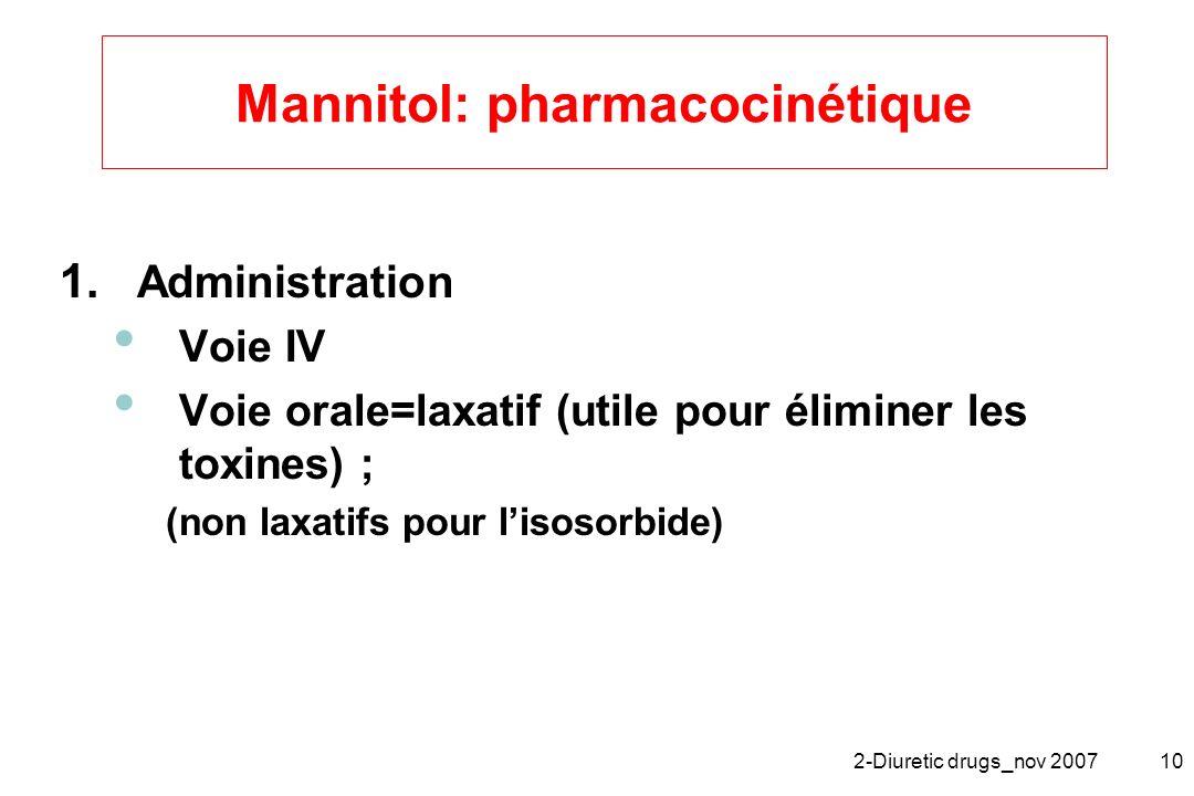 2-Diuretic drugs_nov 200710 Mannitol: pharmacocinétique 1. Administration Voie IV Voie orale=laxatif (utile pour éliminer les toxines) ; (non laxatifs