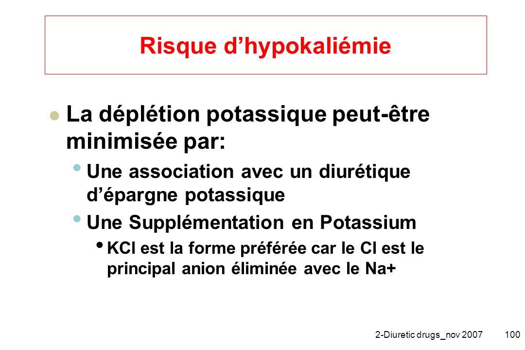 2-Diuretic drugs_nov 2007100 Risque dhypokaliémie La déplétion potassique peut-être minimisée par: Une association avec un diurétique dépargne potassi