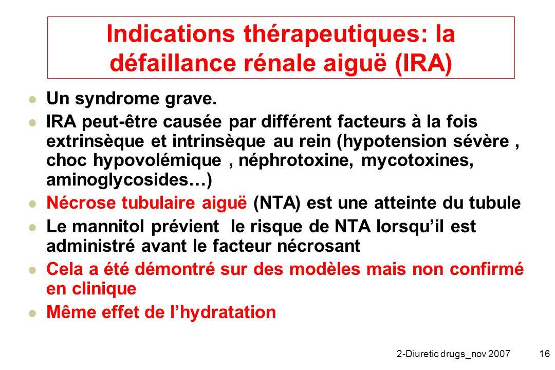 2-Diuretic drugs_nov 200716 Indications thérapeutiques: la défaillance rénale aiguë (IRA) Un syndrome grave. IRA peut-être causée par différent facteu
