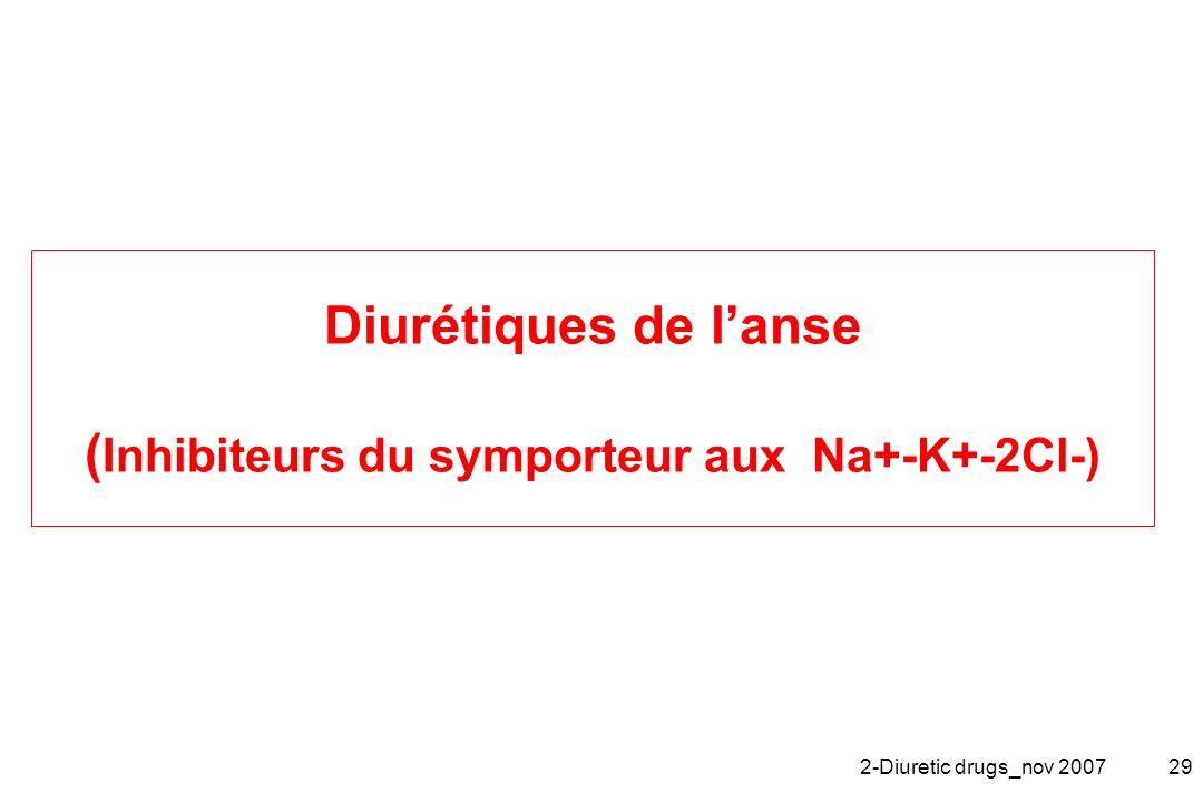 2-Diuretic drugs_nov 200729 Diurétiques de lanse ( Inhibiteurs du symporteur aux Na+-K+-2Cl-)
