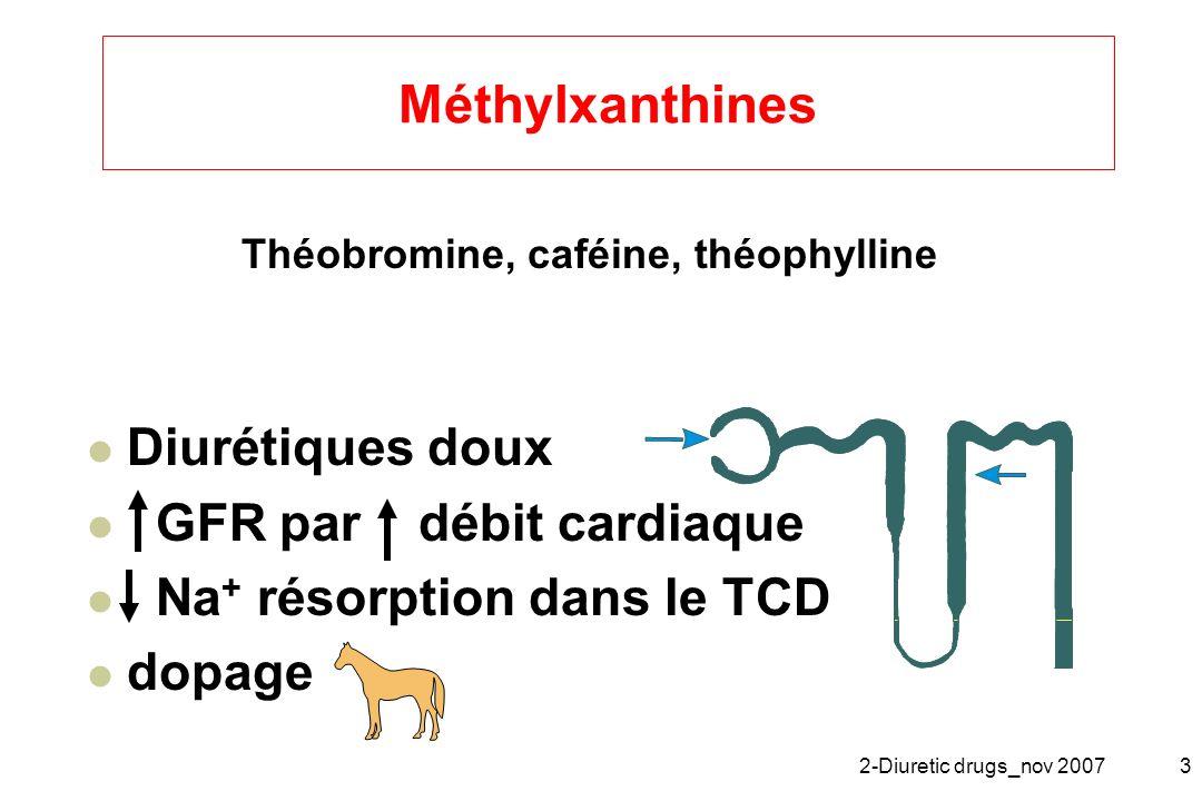 2-Diuretic drugs_nov 20073 Méthylxanthines Diurétiques doux GFR par débit cardiaque Na + résorption dans le TCD dopage Théobromine, caféine, théophyll