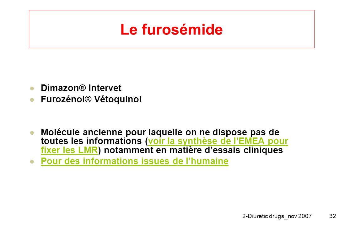 2-Diuretic drugs_nov 200732 Le furosémide Dimazon® Intervet Furozénol® Vétoquinol Molécule ancienne pour laquelle on ne dispose pas de toutes les info