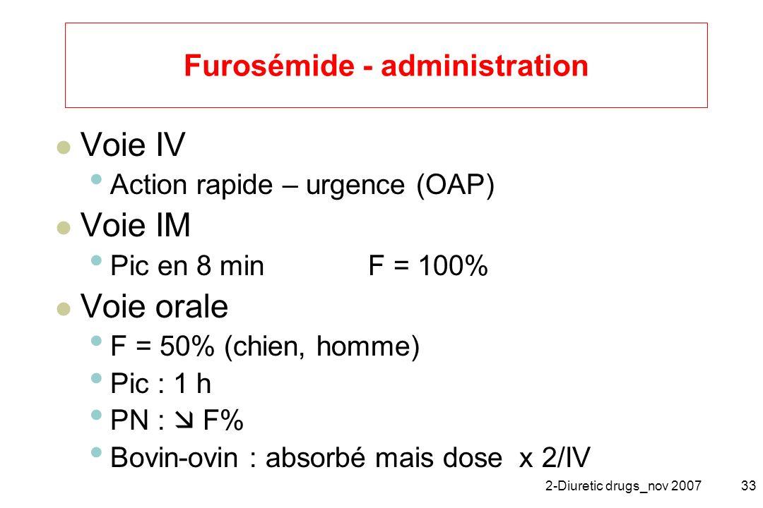 2-Diuretic drugs_nov 200733 Furosémide - administration Voie IV Action rapide – urgence (OAP) Voie IM Pic en 8 min F = 100% Voie orale F = 50% (chien,