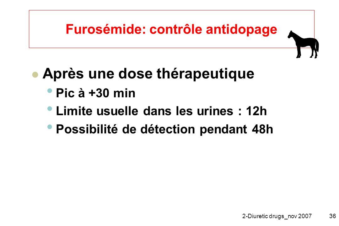 2-Diuretic drugs_nov 200736 Furosémide: contrôle antidopage Après une dose thérapeutique Pic à +30 min Limite usuelle dans les urines : 12h Possibilit