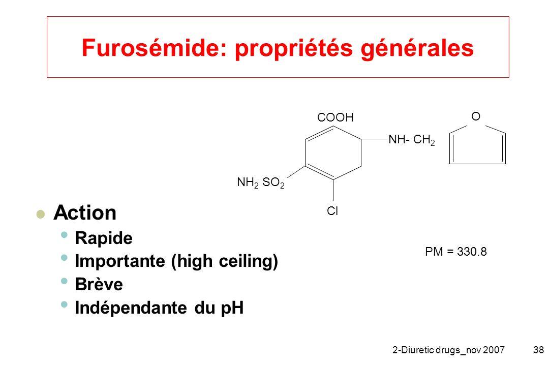 2-Diuretic drugs_nov 200738 Furosémide: propriétés générales Action Rapide Importante (high ceiling) Brève Indépendante du pH COOH NH- CH 2 NH 2 SO 2