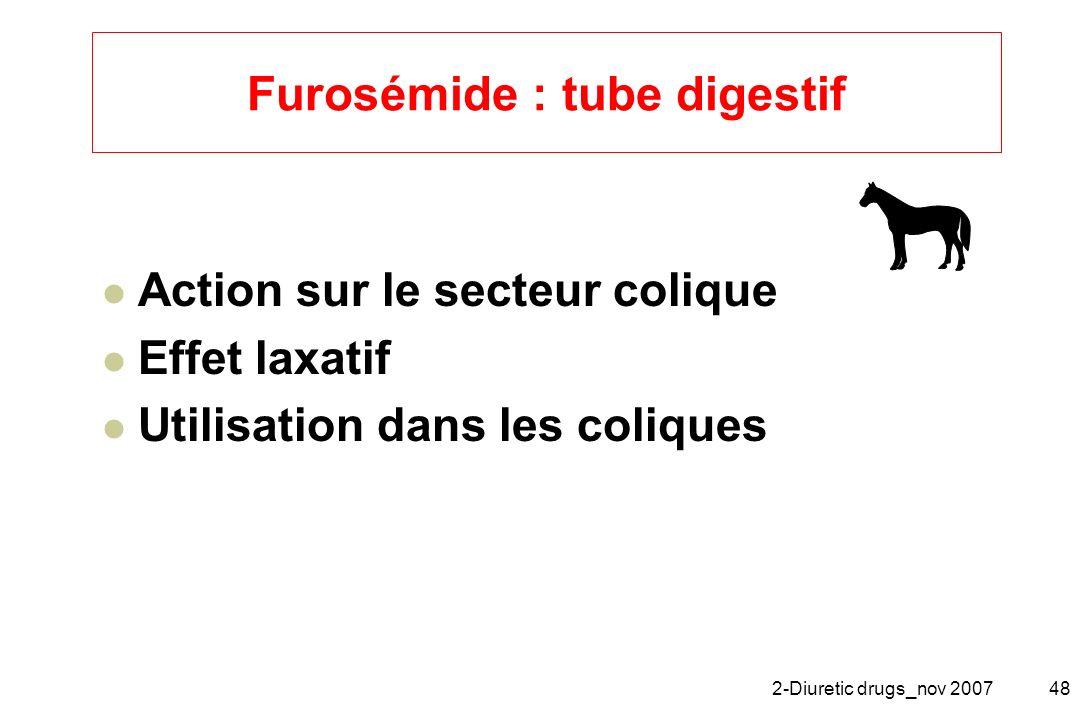 2-Diuretic drugs_nov 200748 Furosémide : tube digestif Action sur le secteur colique Effet laxatif Utilisation dans les coliques