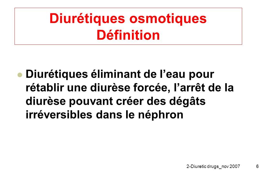 2-Diuretic drugs_nov 20076 Diurétiques osmotiques Définition Diurétiques éliminant de leau pour rétablir une diurèse forcée, larrêt de la diurèse pouv