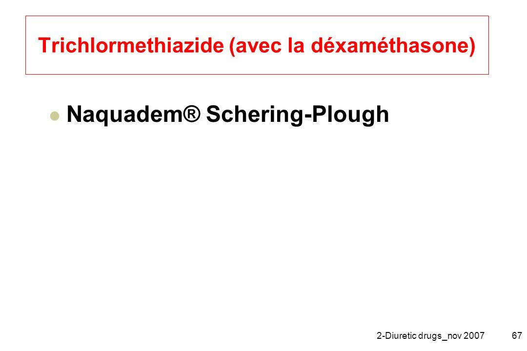 2-Diuretic drugs_nov 200767 Trichlormethiazide (avec la déxaméthasone) Naquadem® Schering-Plough