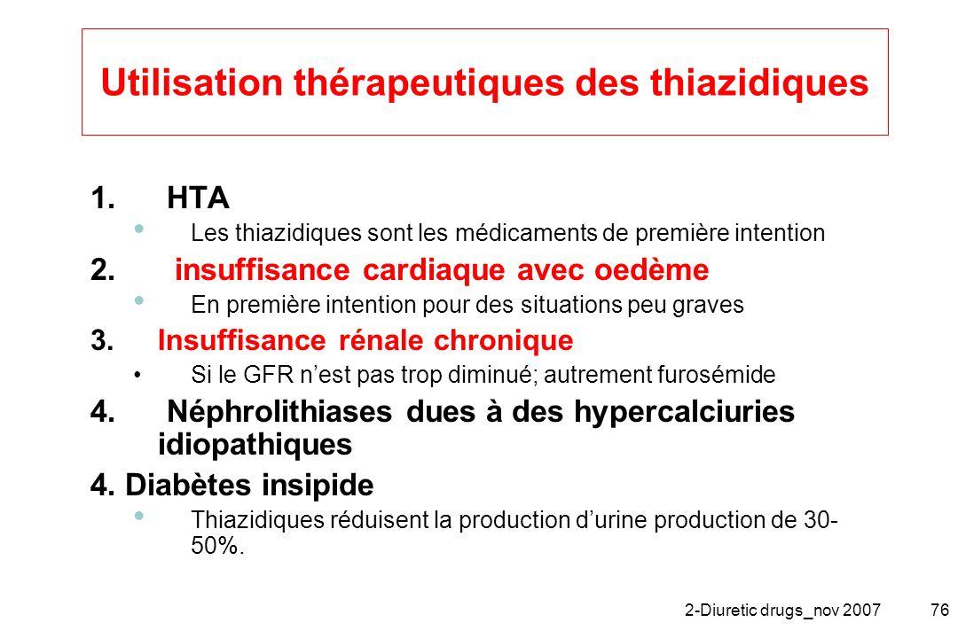 2-Diuretic drugs_nov 200776 Utilisation thérapeutiques des thiazidiques 1. HTA Les thiazidiques sont les médicaments de première intention 2. insuffis