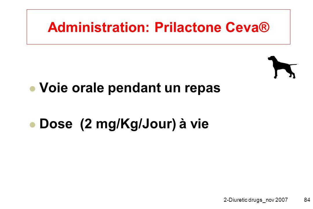 2-Diuretic drugs_nov 200784 Administration: Prilactone Ceva® Voie orale pendant un repas Dose (2 mg/Kg/Jour) à vie