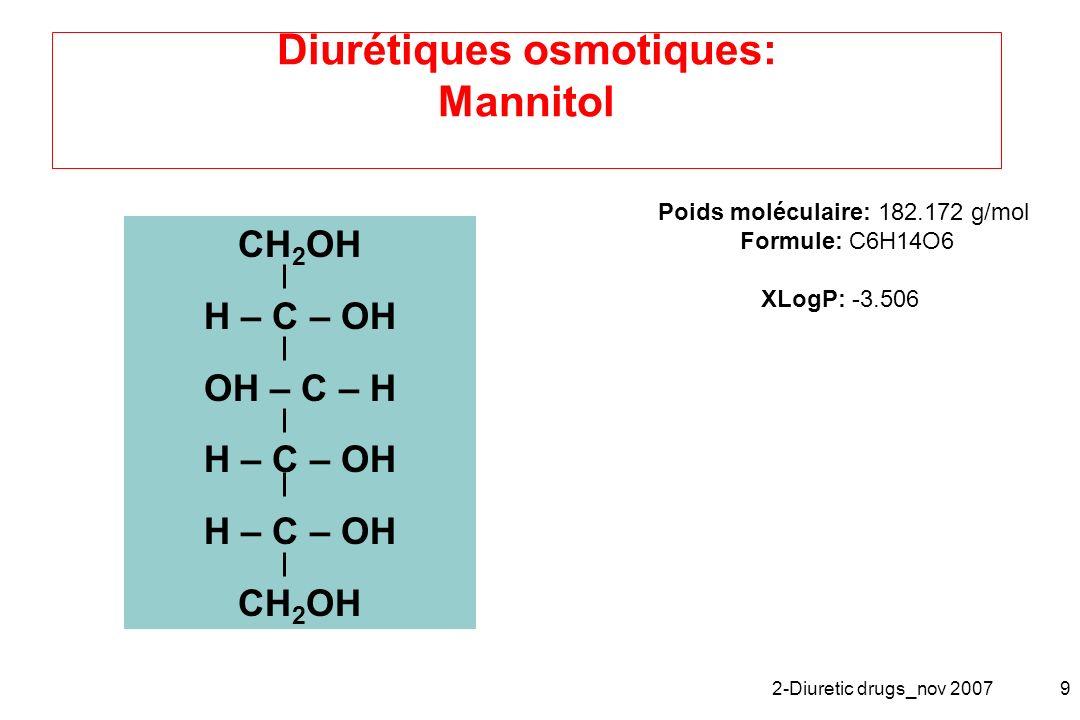 2-Diuretic drugs_nov 20079 Diurétiques osmotiques: Mannitol CH 2 OH H – C – OH OH – C – H H – C – OH CH 2 OH Poids moléculaire: 182.172 g/mol Formule: