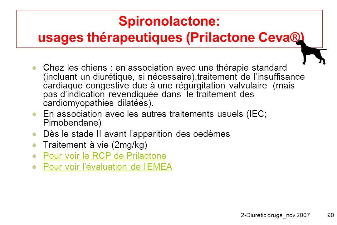 2-Diuretic drugs_nov 200790 Spironolactone: usages thérapeutiques (Prilactone Ceva®) Chez les chiens : en association avec une thérapie standard (incl