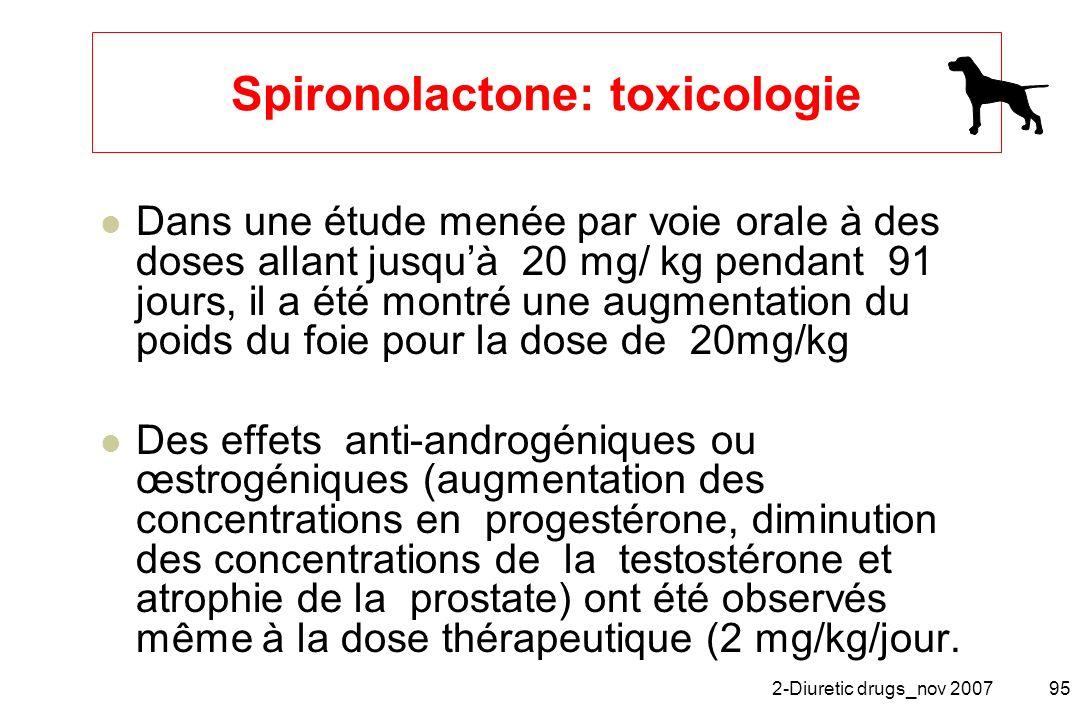 2-Diuretic drugs_nov 200795 Spironolactone: toxicologie Dans une étude menée par voie orale à des doses allant jusquà 20 mg/ kg pendant 91 jours, il a