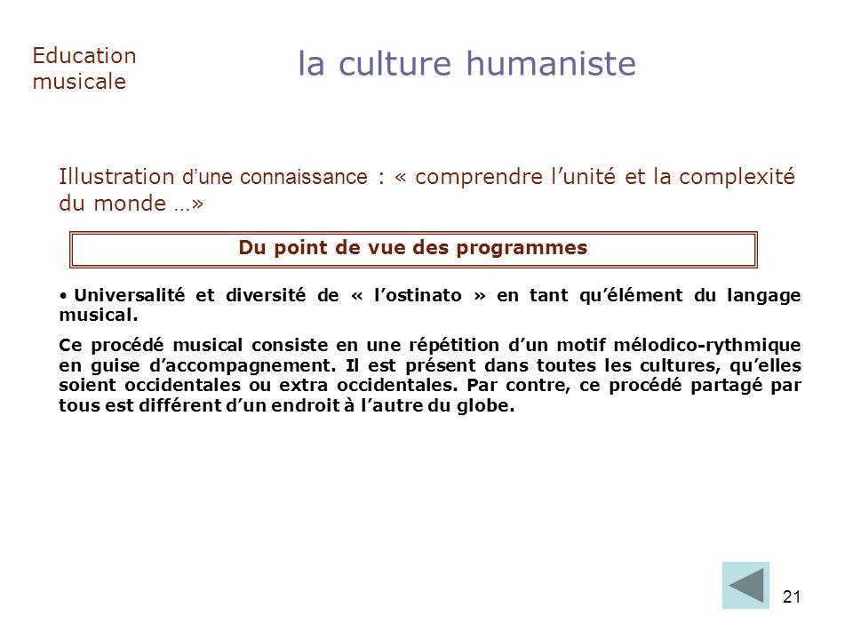 21 la culture humaniste Education musicale Universalité et diversité de « lostinato » en tant quélément du langage musical. Ce procédé musical consist