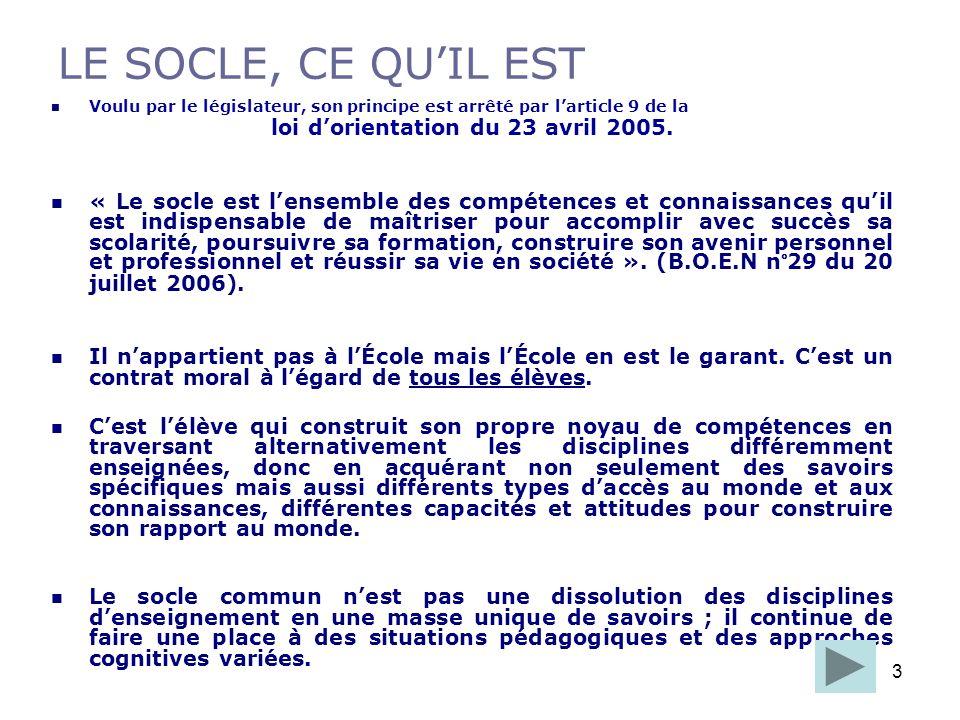 3 LE SOCLE, CE QUIL EST Voulu par le législateur, son principe est arrêté par larticle 9 de la loi dorientation du 23 avril 2005. « Le socle est lense