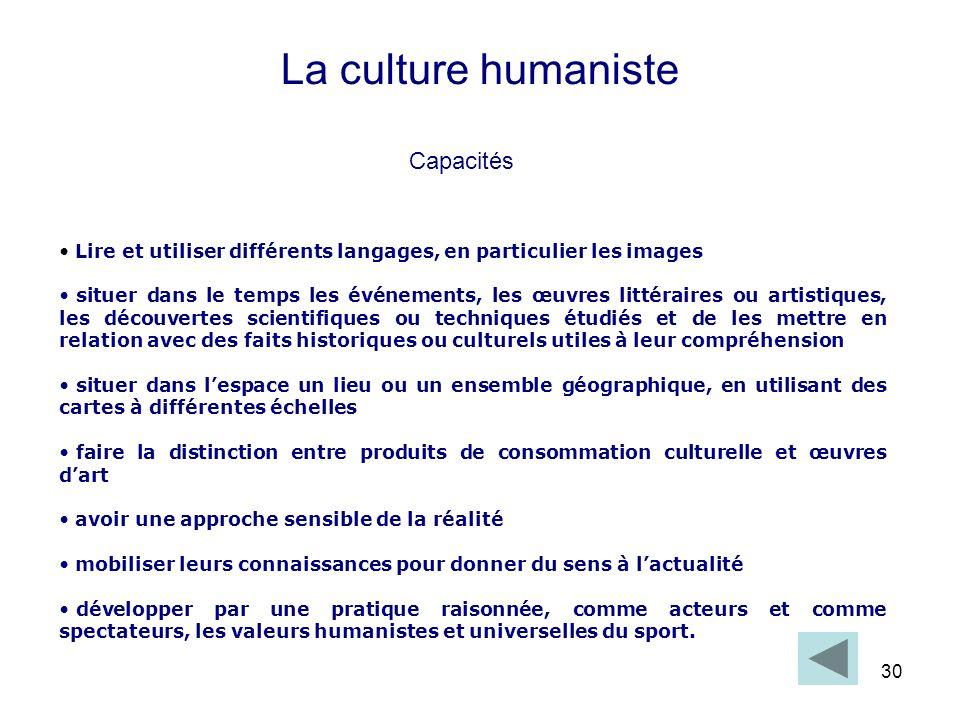 30 La culture humaniste Lire et utiliser différents langages, en particulier les images situer dans le temps les événements, les œuvres littéraires ou