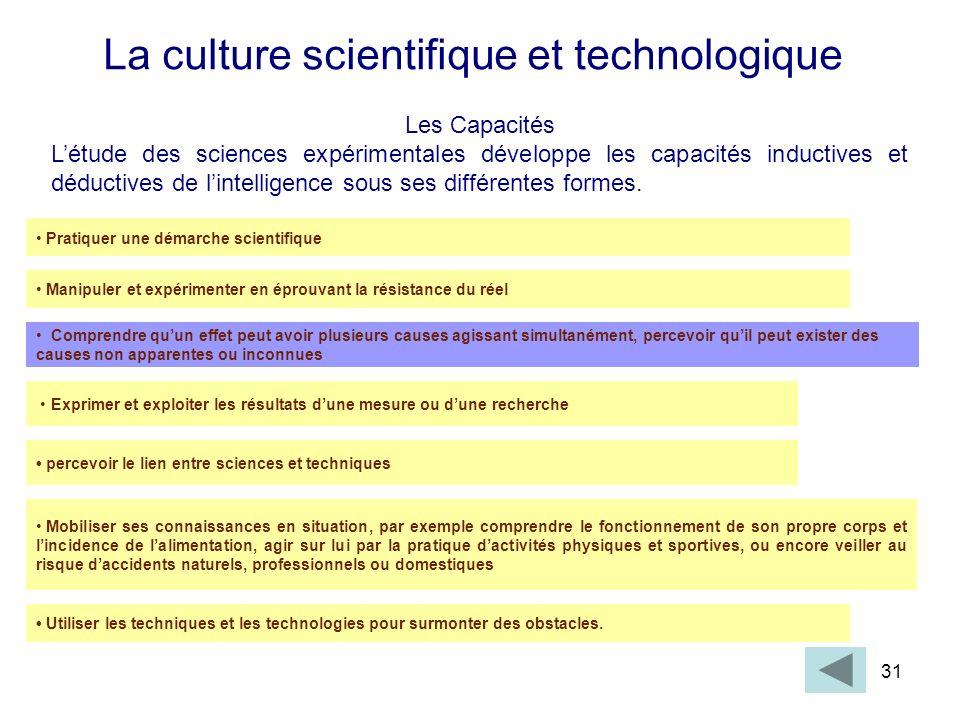 31 La culture scientifique et technologique Les Capacités Létude des sciences expérimentales développe les capacités inductives et déductives de linte