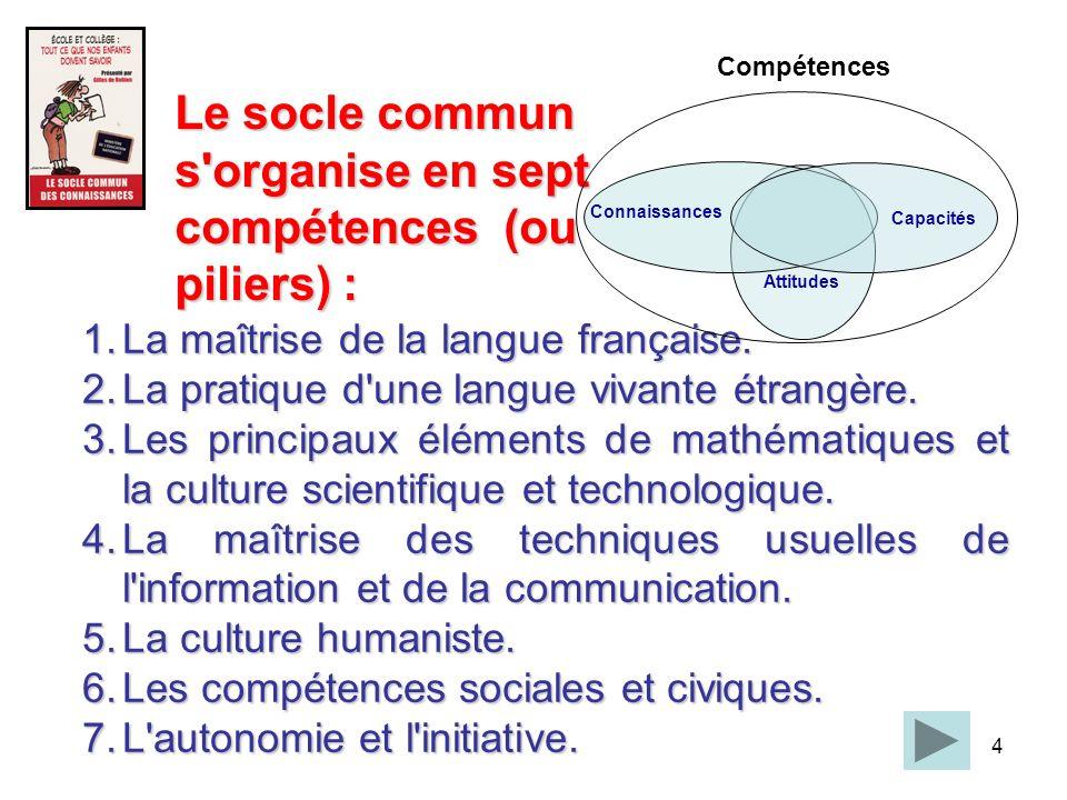 4 1.La maîtrise de la langue française. 2.La pratique d'une langue vivante étrangère. 3.Les principaux éléments de mathématiques et la culture scienti
