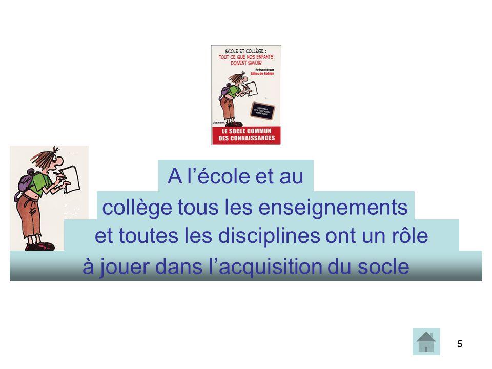 5 à jouer dans lacquisition du socle collège tous les enseignements et toutes les disciplines ont un rôle A lécole et au