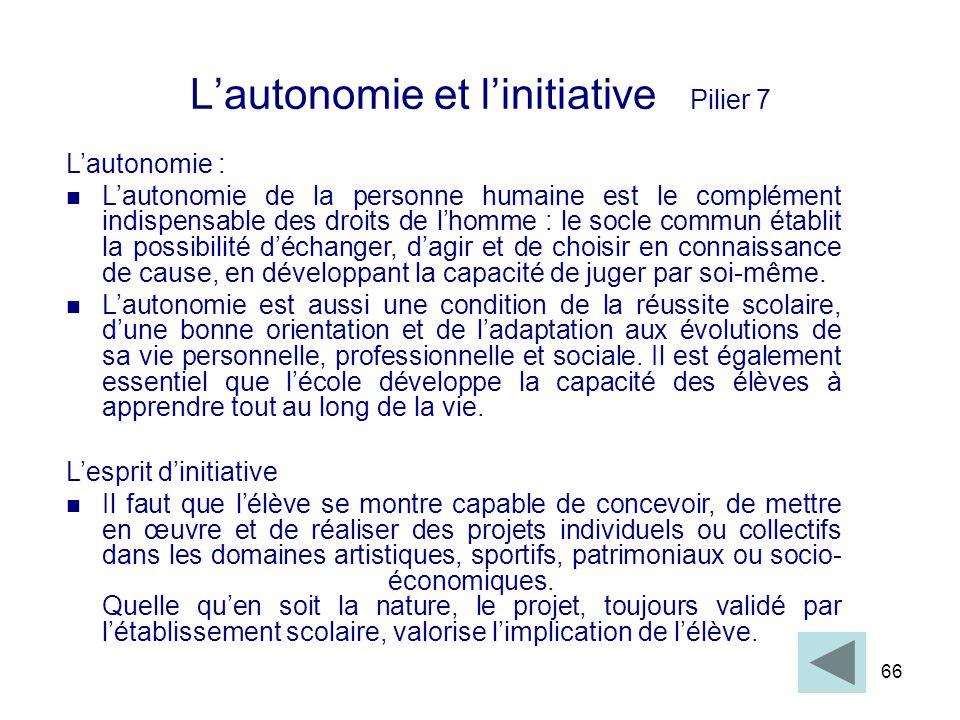 66 Lautonomie et linitiative Pilier 7 Lautonomie : Lautonomie de la personne humaine est le complément indispensable des droits de lhomme : le socle c