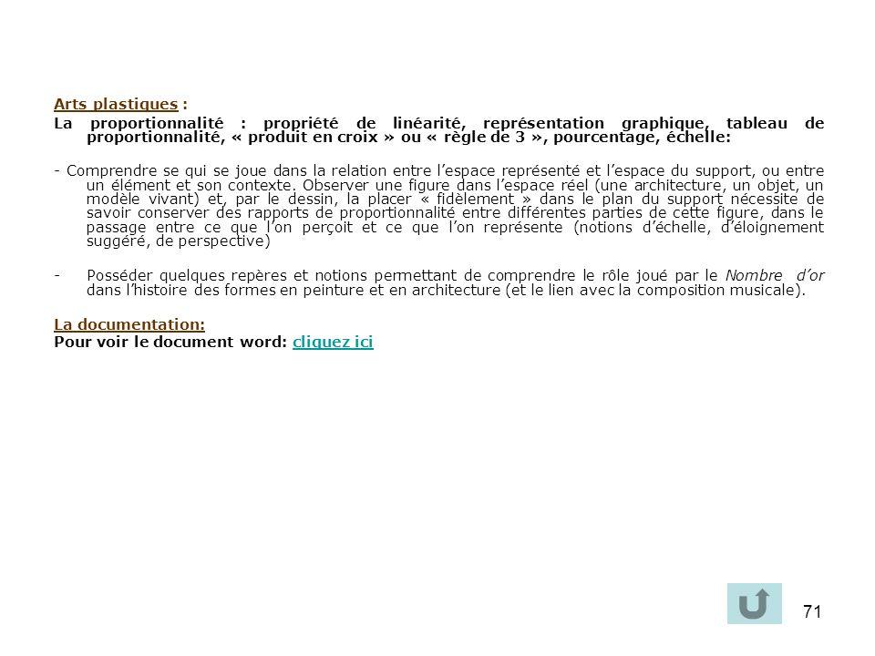 71 Arts plastiques : La proportionnalité : propriété de linéarité, représentation graphique, tableau de proportionnalité, « produit en croix » ou « rè