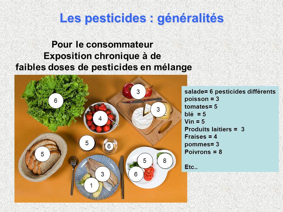 6 3 5 5 5 3 3 4 6 1 6 8 salade= 6 pesticides différents poisson = 3 tomates= 5 blé = 5 Vin = 5 Produits laitiers = 3 Fraises = 4 pommes= 3 Poivrons =