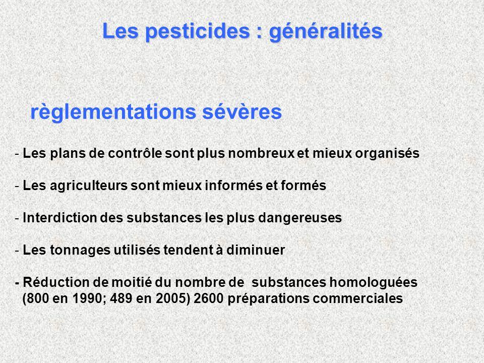 - - Les plans de contrôle sont plus nombreux et mieux organisés - - Les agriculteurs sont mieux informés et formés - - Interdiction des substances les