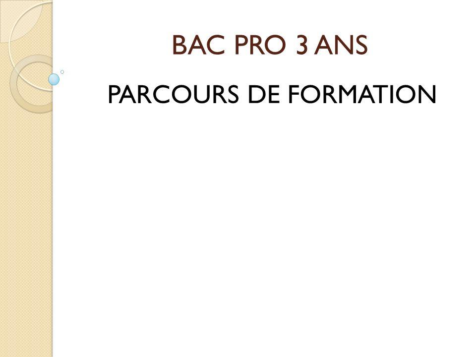 BAC PRO 3 ANS PARCOURS DE FORMATION
