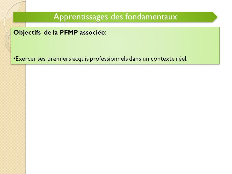 Apprentissages des fondamentaux Objectifs de la PFMP associée: Exercer ses premiers acquis professionnels dans un contexte réel. Objectifs de la PFMP