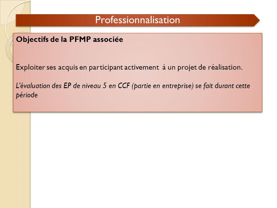 Professionnalisation Objectifs de la PFMP associée Exploiter ses acquis en participant activement à un projet de réalisation. Lévaluation des EP de ni