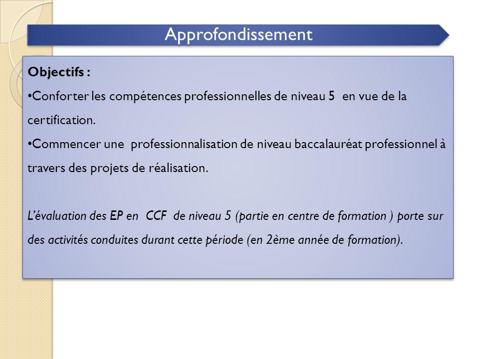 Approfondissement Objectifs : Conforter les compétences professionnelles de niveau 5 en vue de la certification. Commencer une professionnalisation de