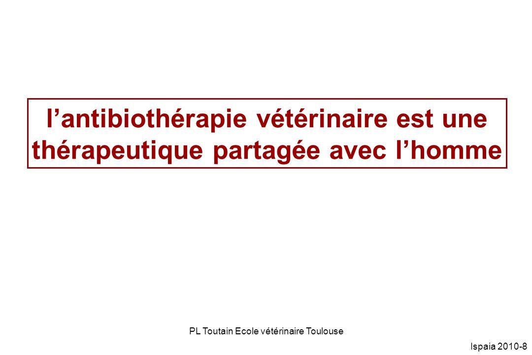 PL Toutain Ecole vétérinaire Toulouse Ispaia 2010-59 Campylobacter spp: % résistance Essentiellement Campylobacter coli n=52 Résistances –A Nalidixique: 20.8% –Ciprofloxacine: 18.9% –Gentamicine: 0%; –Tétracyclines:86.5% –Erythromycine: 54.7% JAC 2009 63 733-744