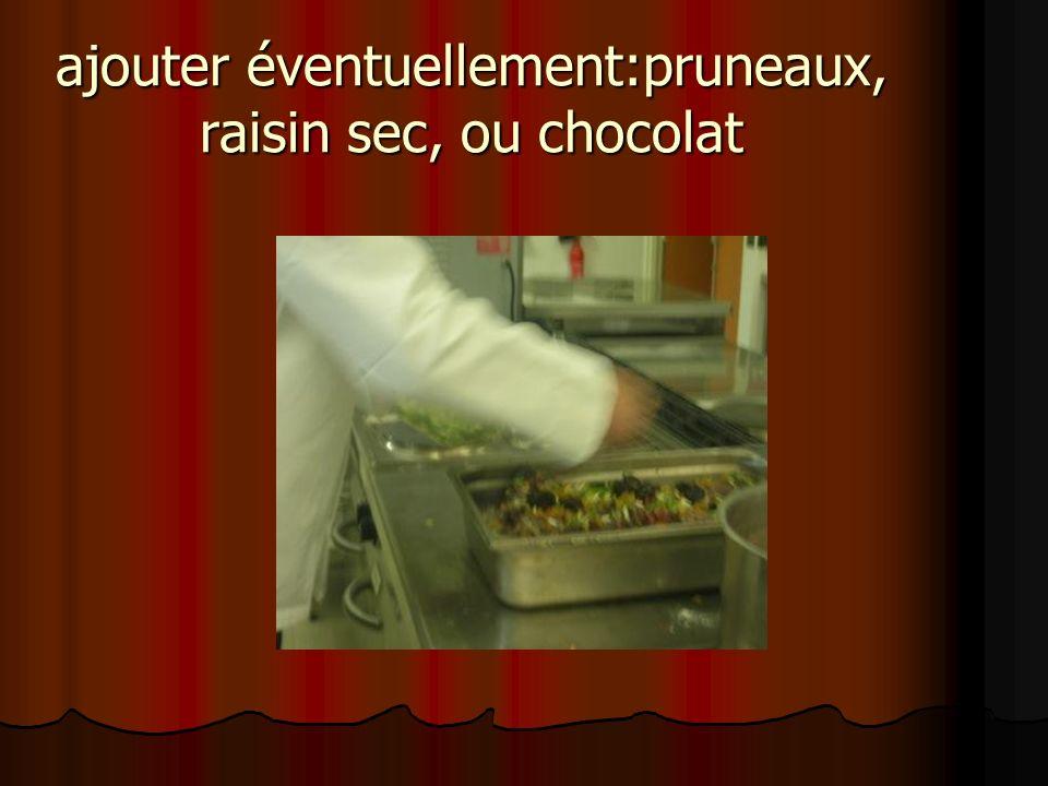ajouter éventuellement:pruneaux, raisin sec, ou chocolat