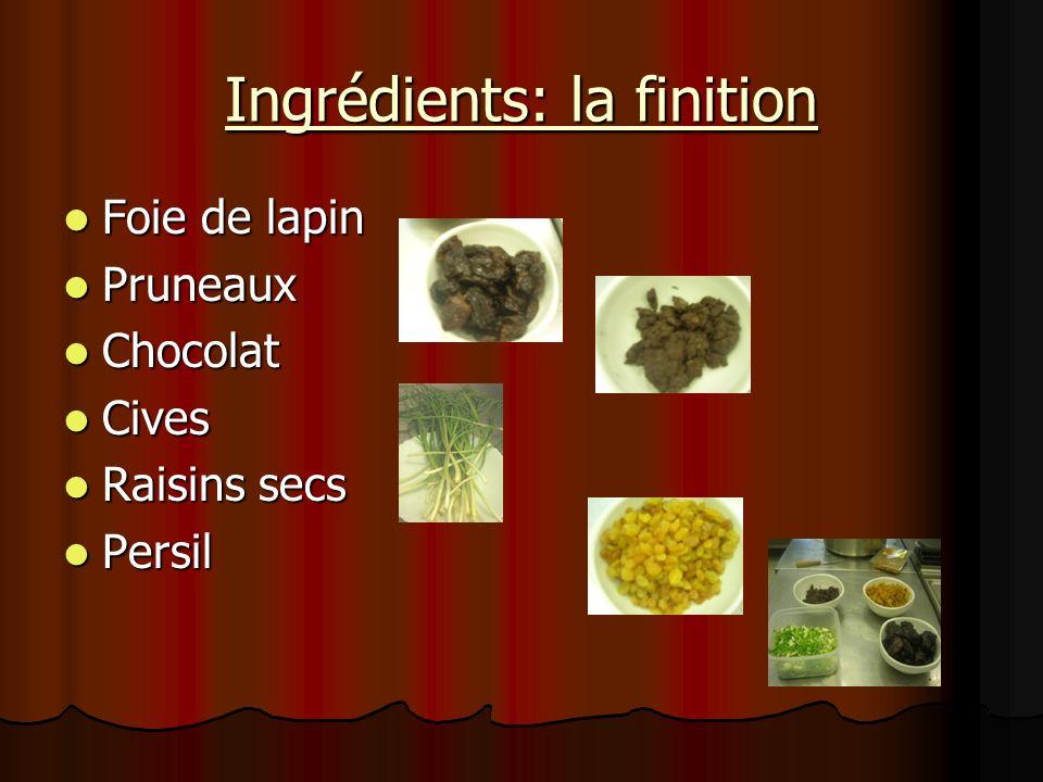 Ingrédients: la finition Foie de lapin Foie de lapin Pruneaux Pruneaux Chocolat Chocolat Cives Cives Raisins secs Raisins secs Persil Persil