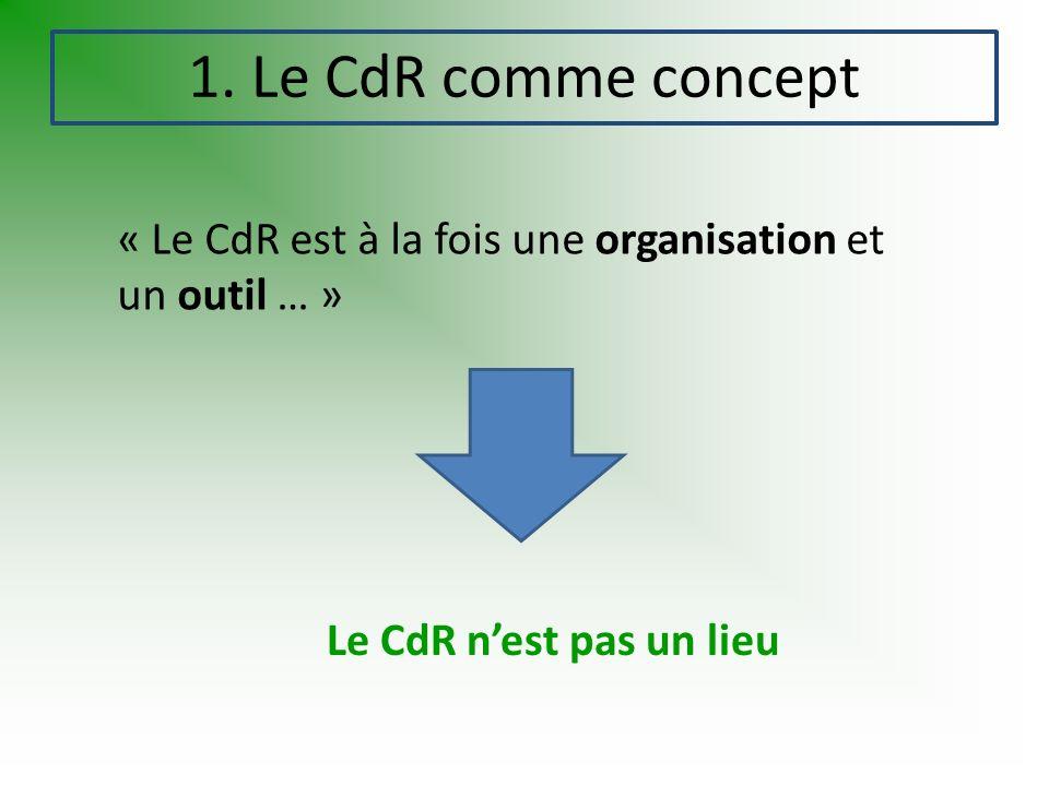 1. Le CdR comme concept « Le CdR est à la fois une organisation et un outil … » Le CdR nest pas un lieu