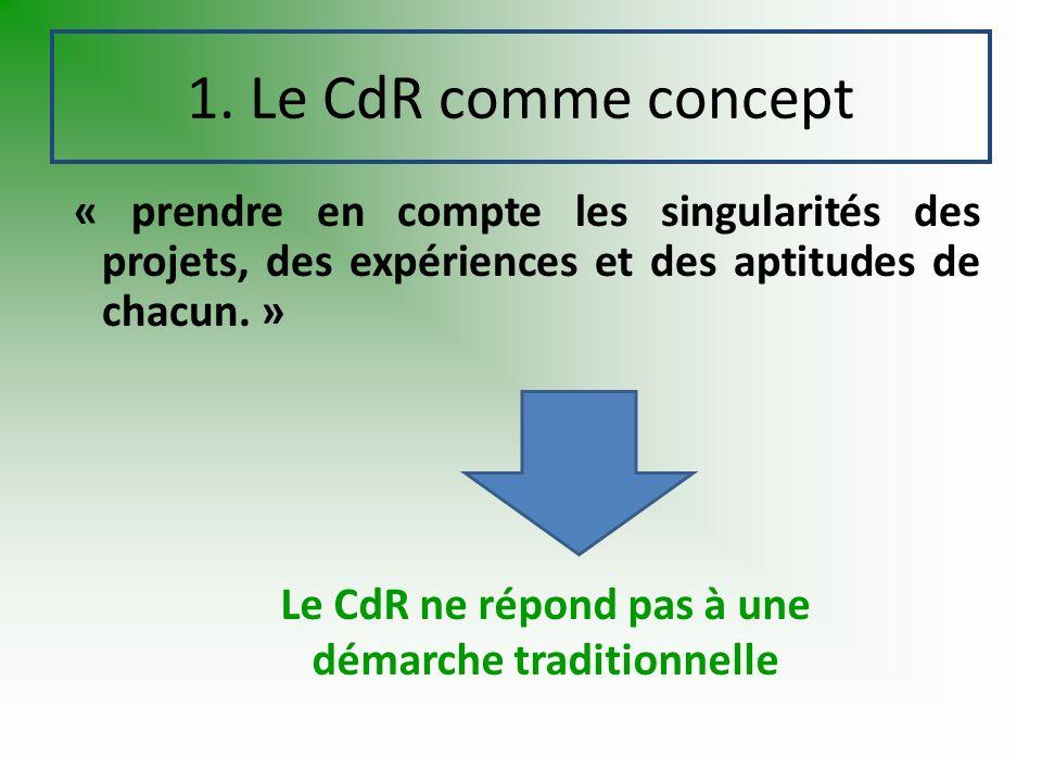 « prendre en compte les singularités des projets, des expériences et des aptitudes de chacun. » 1. Le CdR comme concept Le CdR ne répond pas à une dém