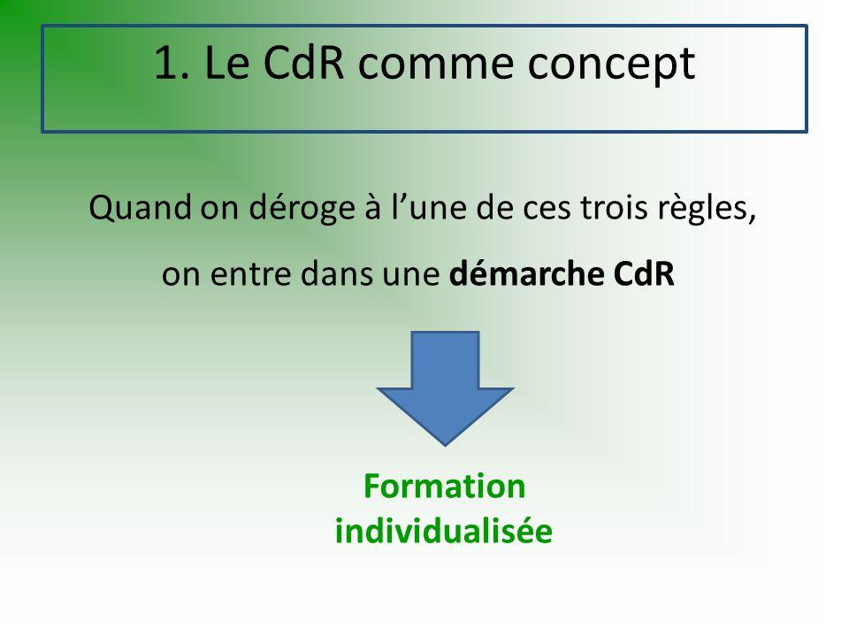 Formation individualisée Quand on déroge à lune de ces trois règles, 1. Le CdR comme concept on entre dans une démarche CdR
