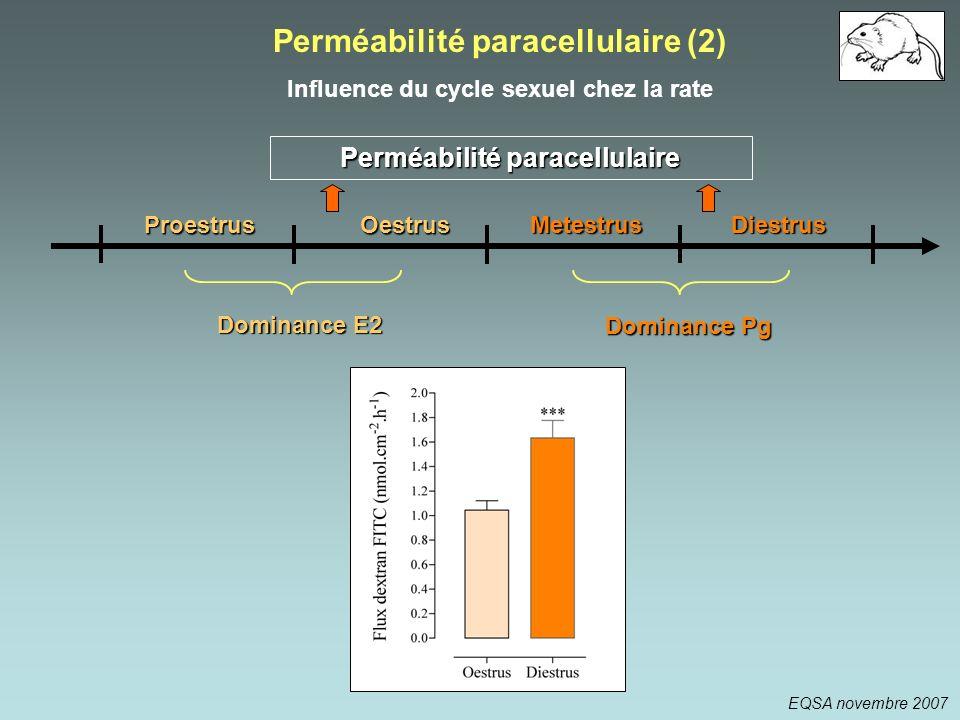 Proestrus Metestrus Oestrus Diestrus Perméabilité paracellulaire Dominance E2 Dominance Pg Perméabilité paracellulaire (2) Influence du cycle sexuel c