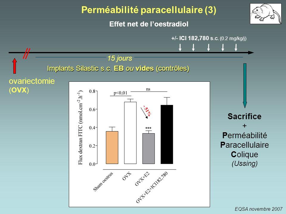 - 51% Implants Silastic s.c. EB ou vides (contrôles) +/- ICI 182,780 s.c. (0.2 mg/kg/j) 15 jours Sacrifice + Perméabilité Paracellulaire Colique (Ussi