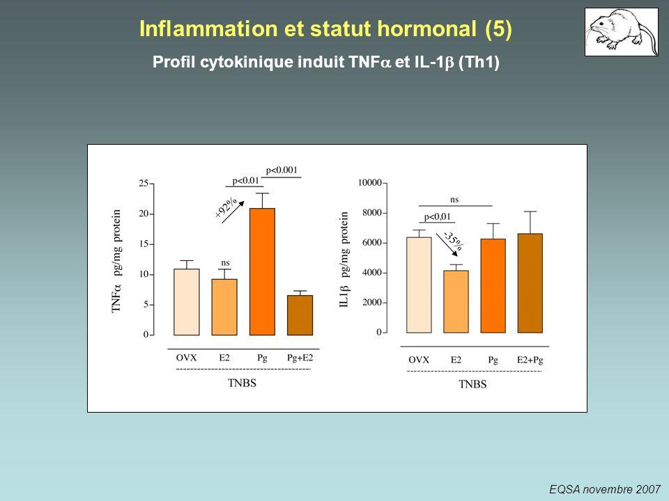 Inflammation et statut hormonal (5) Profil cytokinique induit TNF et IL-1 (Th1) -35% +92% EQSA novembre 2007