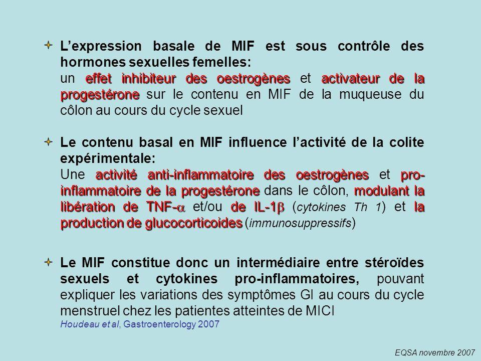 Lexpression basale de MIF est sous contrôle des hormones sexuelles femelles: effet inhibiteur des oestrogènes activateur de la progestérone un effet i
